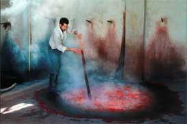 natural dyeing in farahan carpet workshop