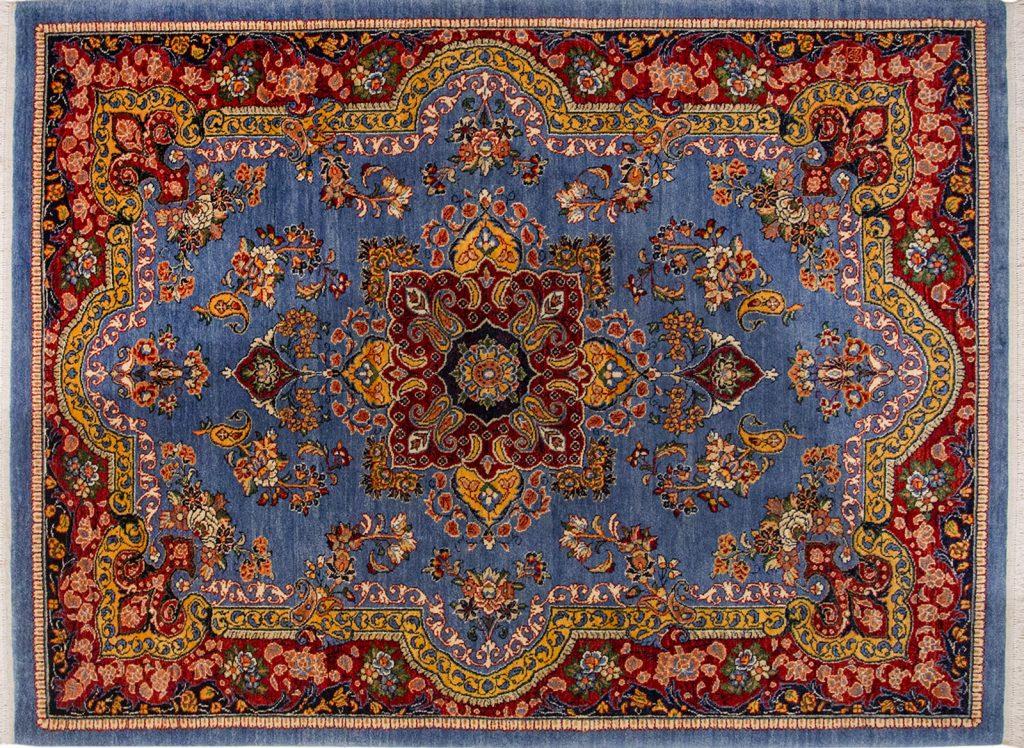 فرش دستباف آبی رنگی